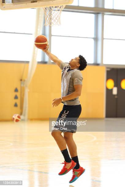 Keldon Johnson of the USA Men's National Team drives to the basket during USAB Mens National Team practice on July 29, 2021 in Tokyo, Japan. NOTE TO...