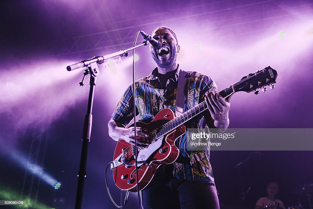 Kele Okereke of Bloc Party performs on stage at O2 Academy Leeds on February 8, 2016 in Leeds, England.