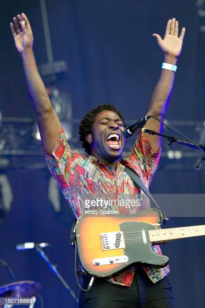 Kele Okereke of Bloc Party performs onstage during the 10th annual Rock En Seine Festival at the Domaine National de SaintCloud park on August 24...