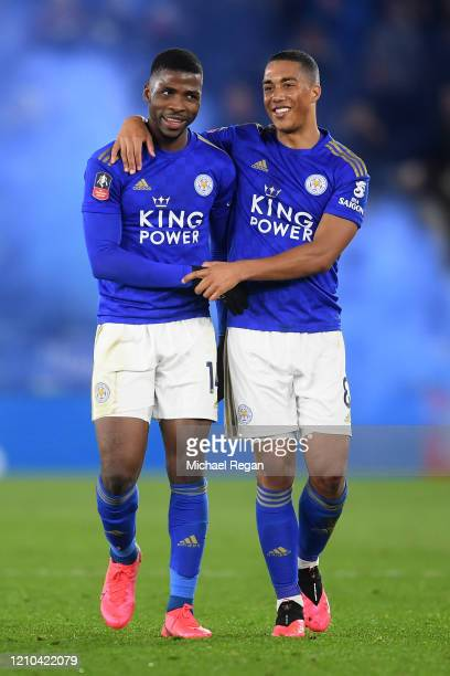 Kelechi Iheanacho and Youri Tielemans of Leicester City celebrate following their teams victory in the FA Cup Fifth Round match between Leicester...