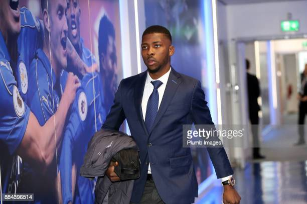 Kelechi Iheanacho arrives ahead of the Premier League match between Leicester City and Burnley at King Power Stadium on December 2nd 2017 in...