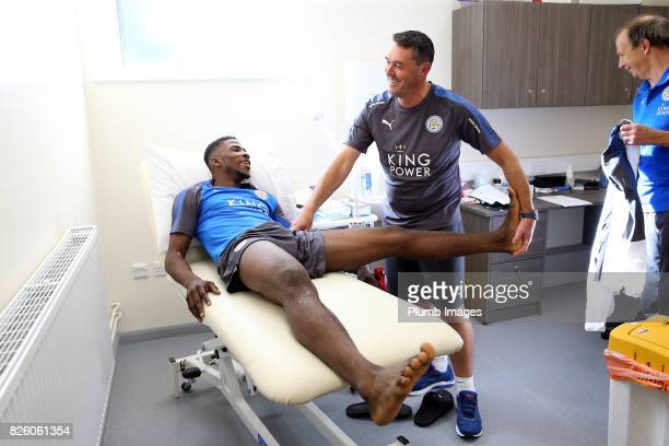 Kelechi Iheanacho during his medical with head of physiotherapy Dave Rennie at King Power Stadium on August 3rd 2017 in Leicester United Kingdom
