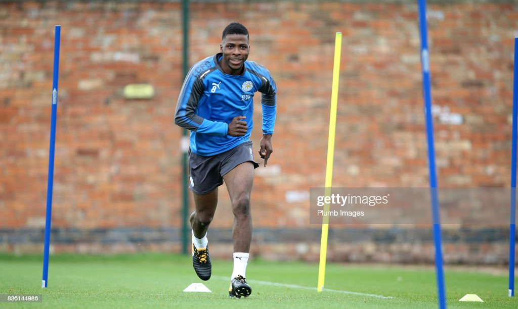 Kelechi Iheanacho during the Leicester City training session at Belvoir Drive Training Complex on August 21 , 2017 in Leicester, United Kingdom.