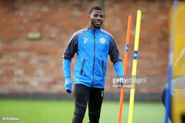 Kelechi Iheanacho during the Leicester City training session at Belvoir Drive Training Complex on November 17 2017 in Leicester United Kingdom