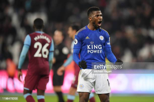 Kelechi Iheanacho of Leicester celebrates after the Premier League match between West Ham United and Leicester City at London Stadium on December 28...