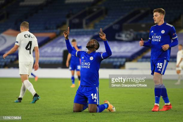 Kelechi Iheanacho of Leicester celebrates scoring their 3rd goal during the UEFA Europa League Group G match between Leicester City and Zorya Luhansk...
