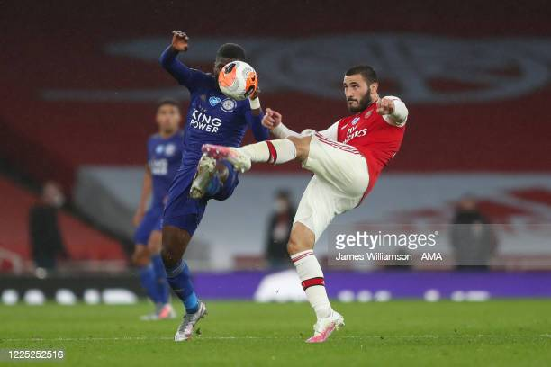 Kelechi Iheanacho of Leicester City and Sead Kolasinac of Arsenal during the Premier League match between Arsenal FC and Leicester City at Emirates...