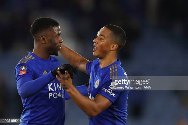 Kelechi Iheanacho of Leicester City and Youri Tielemans at full time of the FA Cup Fifth Round match between Leicester City and Birmingham City at...