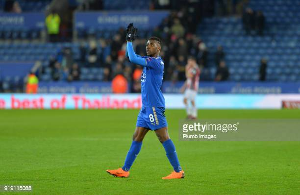 Kelechi Iheanacho of Leicester City applauds the home fans after the FA Cup fifth round match between Leicester City and Sheffield United at King...