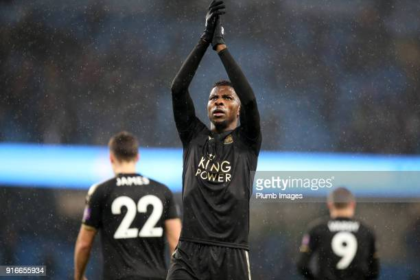 Kelechi Iheanacho of Leicester City applauds the travelling fans after the Premier League match between Manchester City and Leicester City at Etihad...