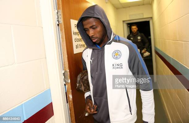 Kelechi Iheanacho of Leicester City arrives at Glanford Park ahead of the Checkatrade Trophy tie between Scunthorpe United and Leicester City at...