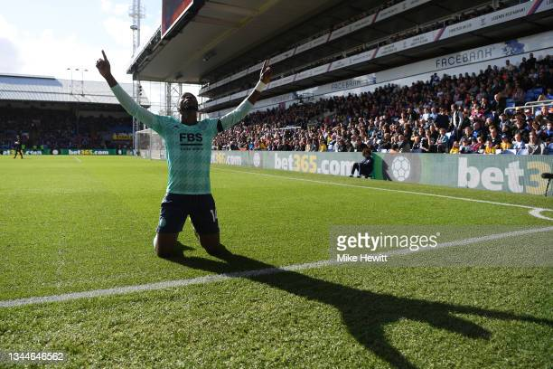 Kelechi Iheanacho of Leicester City celebrates after opening the scoring during the Premier League match between Crystal Palace and Leicester City at...