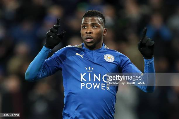 Kelechi Iheanacho of Leicester City celebrates after scoring a goal to make it 10 during The Emirates FA Cup Third Round Replay match between...