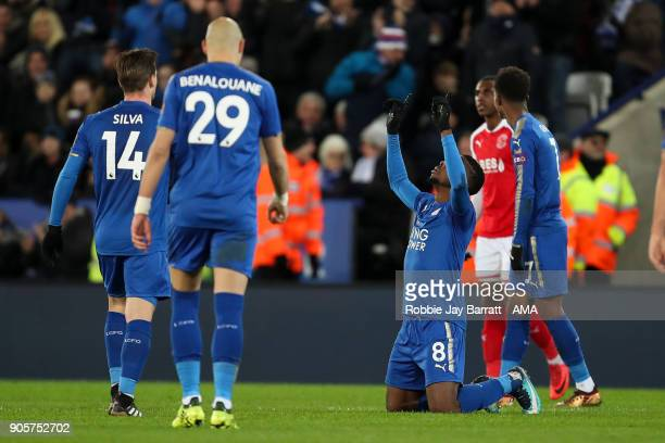 Kelechi Iheanacho of Leicester City celebrates after scoring a goal to make it 20 after use of the VAR system during The Emirates FA Cup Third Round...