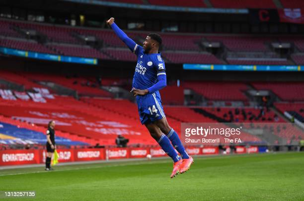 Kelechi Iheanacho of Leicester City celebrates after scoring during the Emirates FA Cup Semi Final match between Leicester City and Southampton FC at...