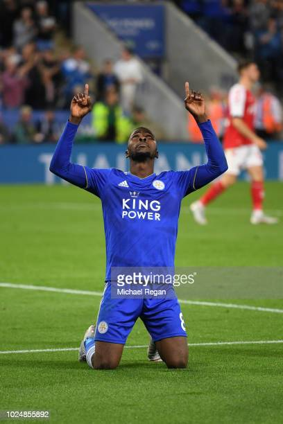 Kelechi Iheanacho of Leicester City celebrates after scoring his team's third goal during the Carabao Cup Second Round match between Leicester City...