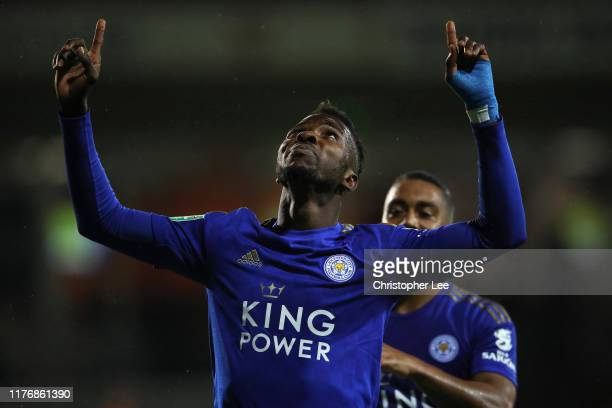 Kelechi Iheanacho of Leicester City celebrates after scoring his sides fourth goal during the Carabao Cup Third Round match between Luton Town and...