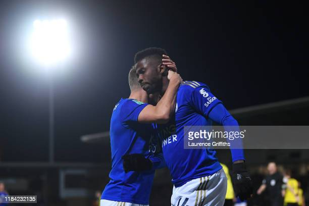 Kelechi Iheanacho of Leicester City celebrates after scoring his team's first goal with Marc Albrighton of Leicester City during the Carabao Cup...