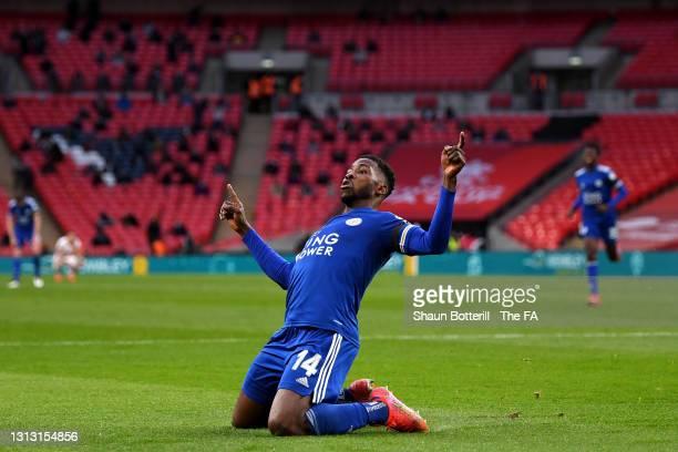 Kelechi Iheanacho of Leicester City celebrates after scoring his team's first goal during the Semi Final of the Emirates FA Cup between Leicester...