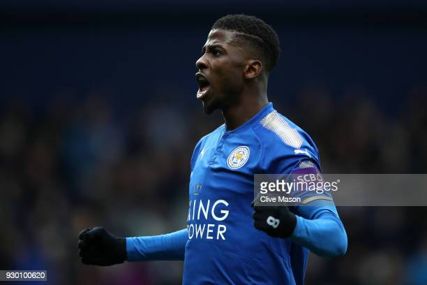 Kelechi Iheanacho of Leicester City celebrates after scoring his sides third goal during the Premier League match between West Bromwich Albion and...