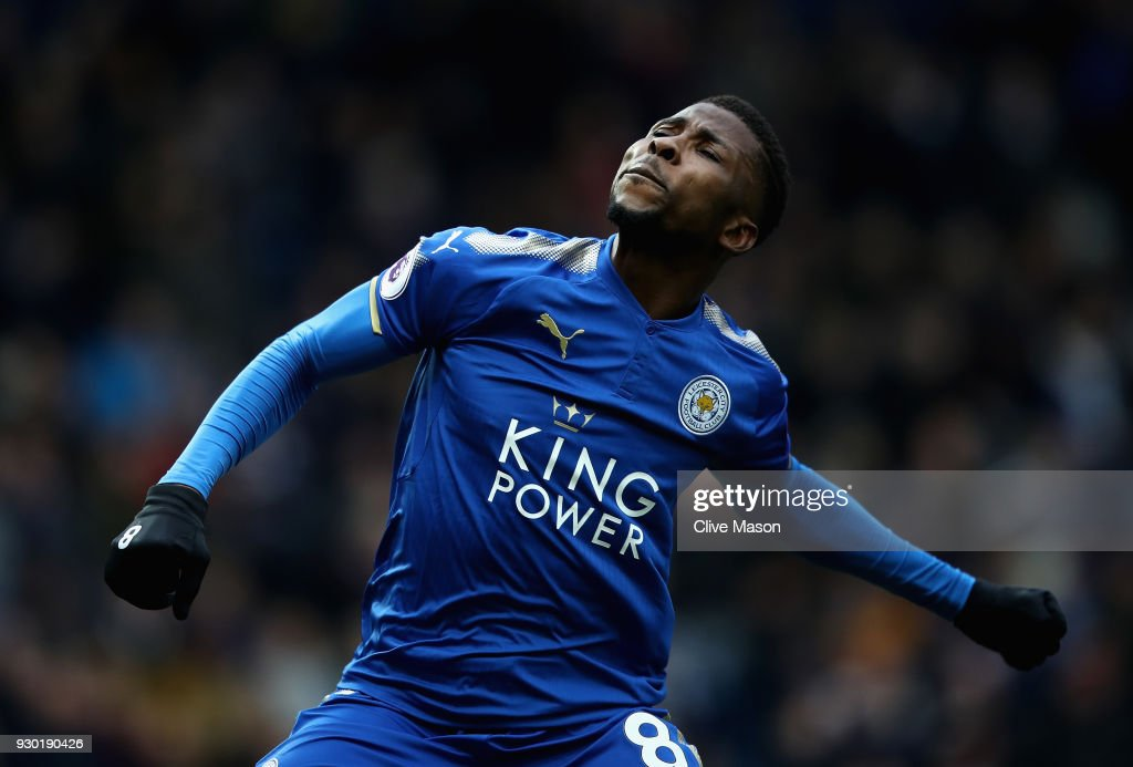 Kelechi Iheanacho of Leicester City celebrates after scoring his sides third goal during the Premier League match between West Bromwich Albion and Leicester City at The Hawthorns on March 10, 2018 in West Bromwich, England.
