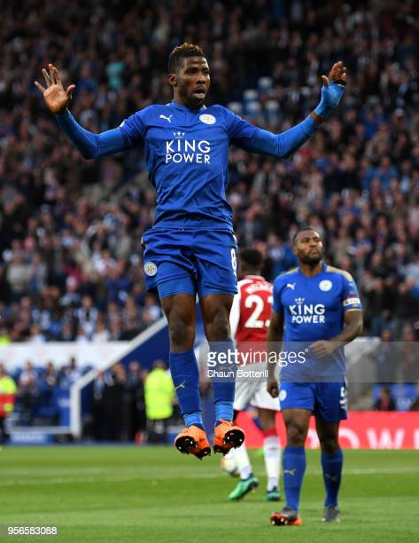 Kelechi Iheanacho of Leicester City celebrates after scoring his sides first goal during the Premier League match between Leicester City and Arsenal...