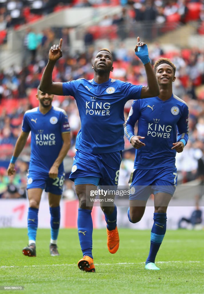 Kelechi Iheanacho of Leicester City celebrates after scoring his sides third goal during the Premier League match between Tottenham Hotspur and Leicester City at Wembley Stadium on May 13, 2018 in London, England.