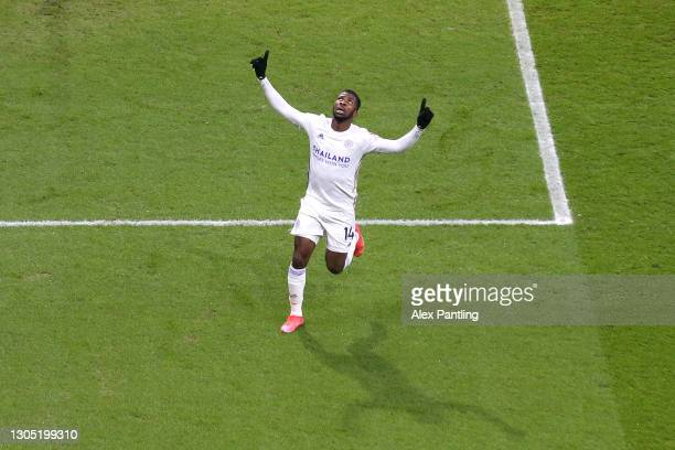 Kelechi Iheanacho of Leicester City celebrates after scoring their sides first goal during the Premier League match between Burnley and Leicester...
