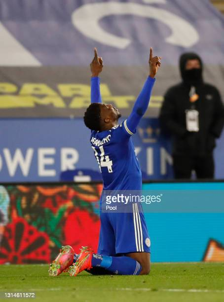Kelechi Iheanacho of Leicester City celebrates after scoring their team's second goal during the Premier League match between Leicester City and...