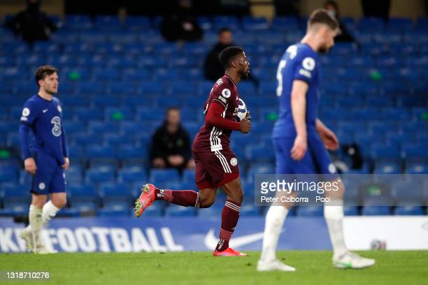 Kelechi Iheanacho of Leicester City celebrates after scoring their sides first goal during the Premier League match between Chelsea and Leicester...