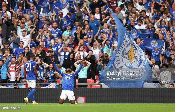 Kelechi Iheanacho of Leicester City celebrates after scoring their side's first goal during The FA Community Shield Final between Manchester City and...