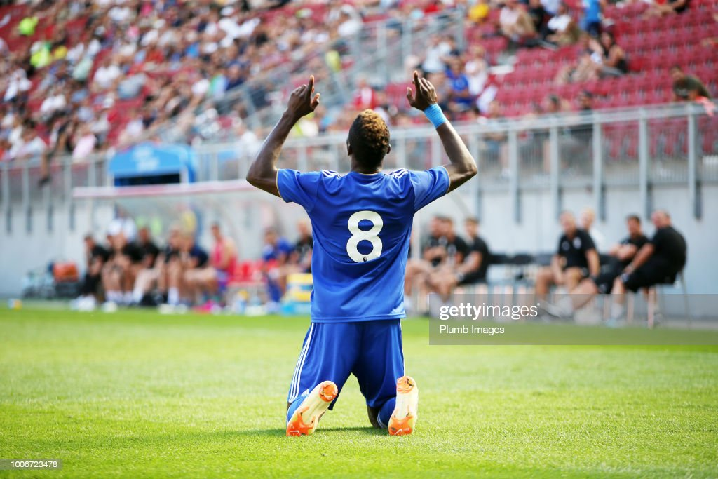 Kelechi Iheanacho of Leicester City celebrates after scoring to make it 1-2 during the pre-season friendly match between Leicester City and Udinese at Worthersee Stadion on July 28, 2018 in Klagenfurt, Austria.