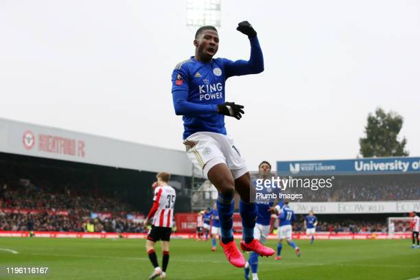 Kelechi Iheanacho of Leicester City celebrates after scoring to make it 0-1 during the FA Cup Fourth Round match between Brentford FC and Leicester...