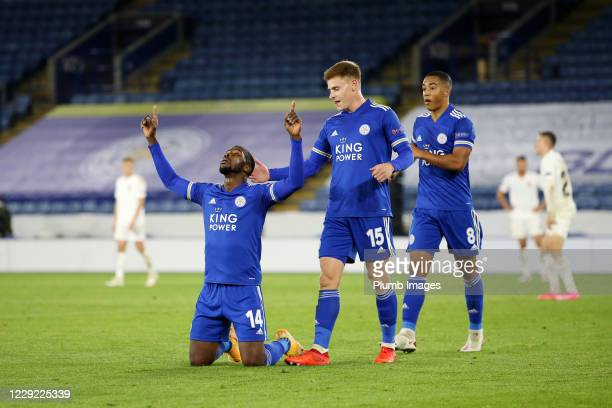 Kelechi Iheanacho of Leicester City celebrates after scoring to make it 3-0 during the UEFA Europa League Group G stage match between Leicester City...