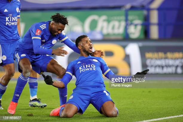 Kelechi Iheanacho of Leicester City celebrates after scoring to make it 3-1 during the Emirates FA Cup Quarter Final match between Leicester City and...