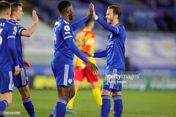 Kelechi Iheanacho of Leicester City celebrates after scoring to make it 3-0 during the Premier League match between Leicester City and West Bromwich...