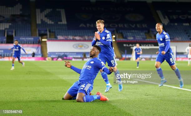 Kelechi Iheanacho of Leicester City celebrates after scoring to make it 2-1 during the Premier League match between Leicester City and Crystal Palace...