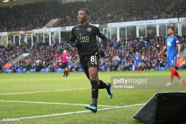 Kelechi Iheanacho of Leicester City celebrates after scoring to make it 03 during The Emirates FA Cup Fourth Round tie between Peterborough United...
