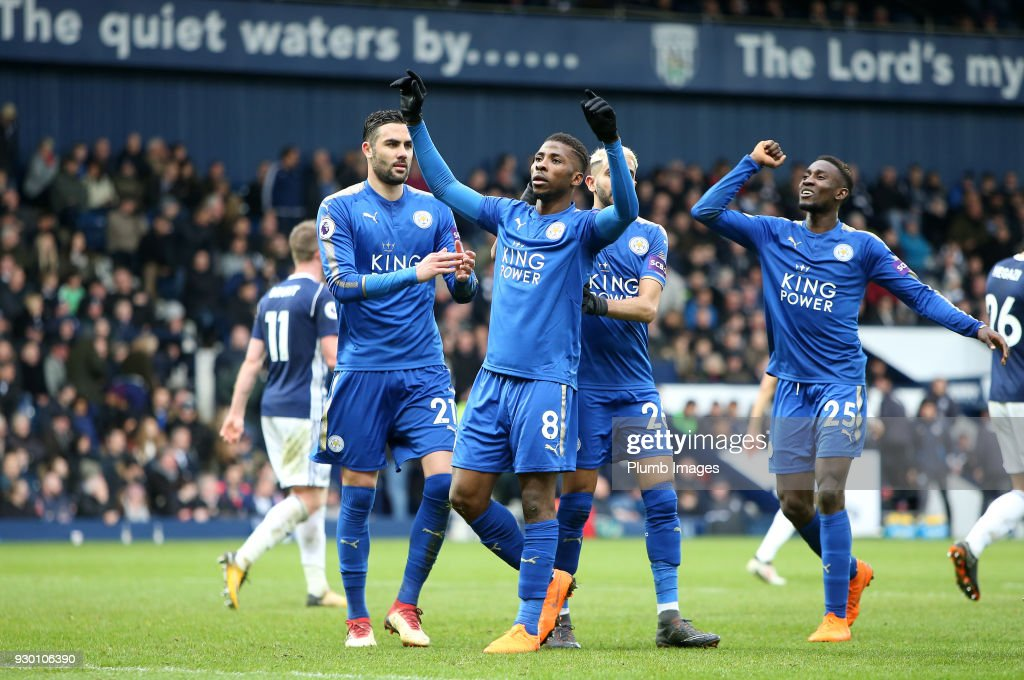 Kelechi Iheanacho of Leicester City celebrates after scoring to make it 1-3 during the Premier League match between West Bromwich Albion and Leicester City at The Hawthorns, on March 10th, 2018 in West Bromwich, United Kingdom