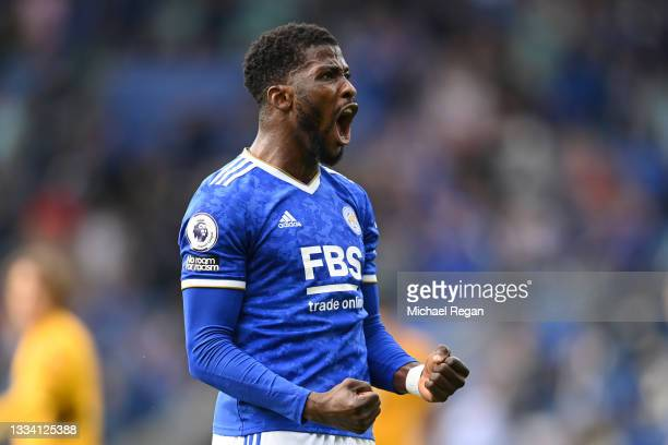 Kelechi Iheanacho of Leicester City celebrates after victory in the Premier League match between Leicester City and Wolverhampton Wanderers at The...