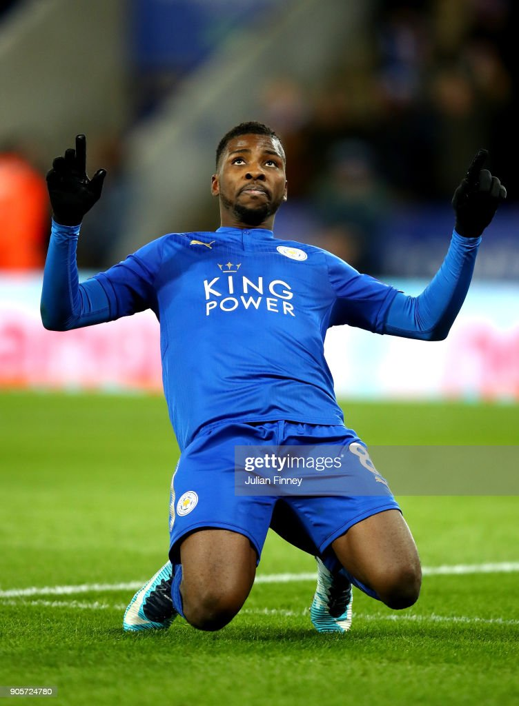 Kelechi Iheanacho of Leicester City celebrates as he scores their first goal during The Emirates FA Cup Third Round Replay match between Leicester City and Fleetwood Town at The King Power Stadium on January 16, 2018 in Leicester, England.