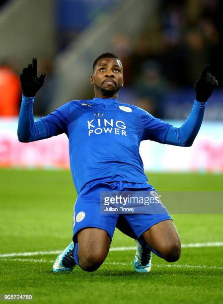 Kelechi Iheanacho of Leicester City celebrates as he scores their first goal during The Emirates FA Cup Third Round Replay match between Leicester...