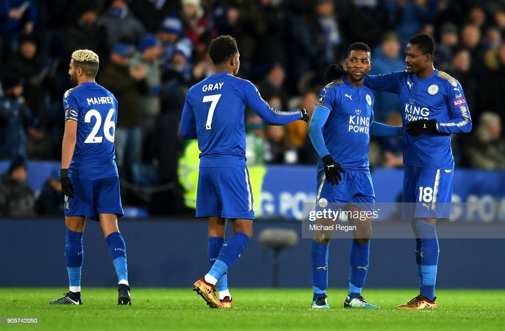 Kelechi Iheanacho of Leicester City (2R) celebrates as he scores their second goal with team mates after it was awarded following a VAR decision during The Emirates FA Cup Third Round Replay match between Leicester City and Fleetwood Town at The King Power Stadium on January 16, 2018 in Leicester, England.