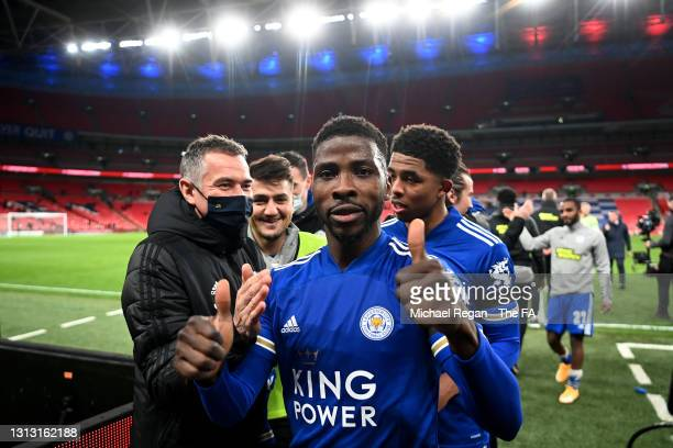Kelechi Iheanacho of Leicester City celebrates following his team's victory in the Semi Final of the Emirates FA Cup between Leicester City and...