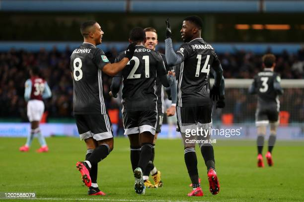 Kelechi Iheanacho of Leicester City celebrates scoring his teams first goal of the game with team mates Ricardo Pereira James Maddison and Youri...