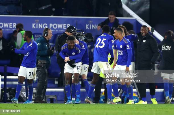 Kelechi Iheanacho of Leicester City celebrates scoring his teams second goal during the Premier League match between Leicester City and Everton FC at...