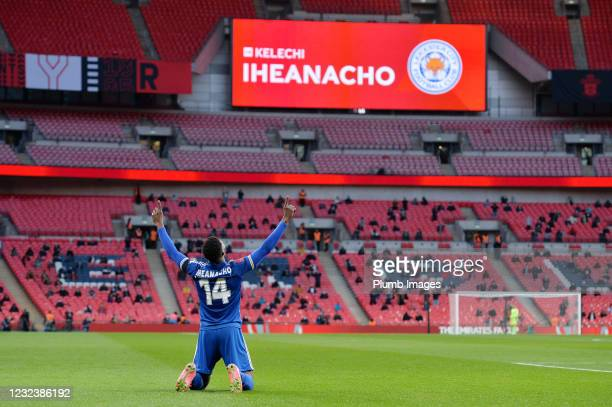 Kelechi Iheanacho of Leicester City celebrates scoring the opening goal for Leicester City during the Semi Final of the Emirates FA Cup match between...