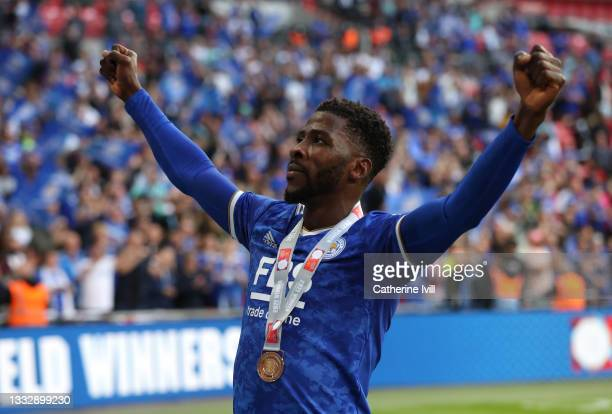 Kelechi Iheanacho of Leicester City celebrates their side's victory with his winners medal after The FA Community Shield Final between Manchester...
