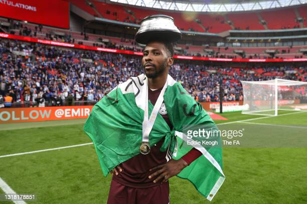 Kelechi Iheanacho of Leicester City celebrates victory following The Emirates FA Cup Final match between Chelsea and Leicester City at Wembley...