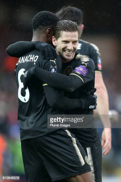 Kelechi Iheanacho of Leicester City celebrates with Adrien Silva of Leicester City after scoring to make it 03 during The Emirates FA Cup Fourth...